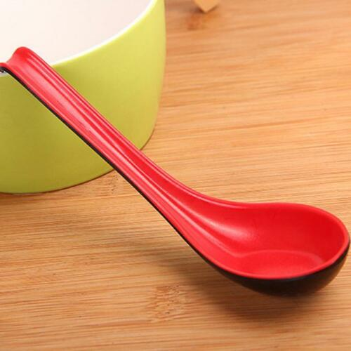 Red Black Color Home Kitchen Flatware Plastic Japanese Style Soup Rice Spoon C