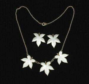 Edelmetall-Norway-Enamel-Sterling-Silver-Necklace-amp-Earrings