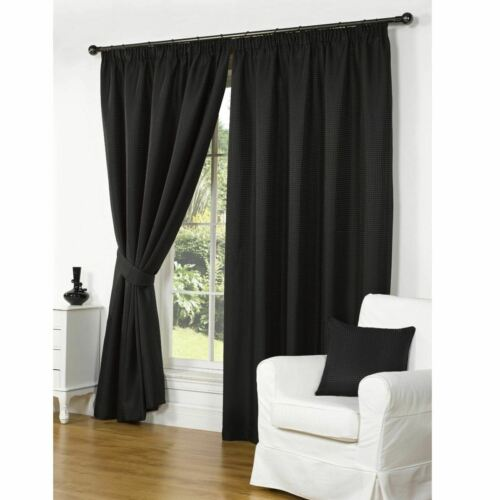 """Luxury Black Waffle Effect Lined Pencil Pleat 3"""" Tape Top Ready Made Curtains"""