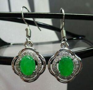 Green-Jade-Cabochon-Imitation-Diamond-White-Gold-Plated-Hook-Dangle-Earrings