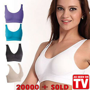 0edef2522e0ca PACK OF 3 Seamless Sports Style Bras Crop Top Vest Comfort Stretch ...