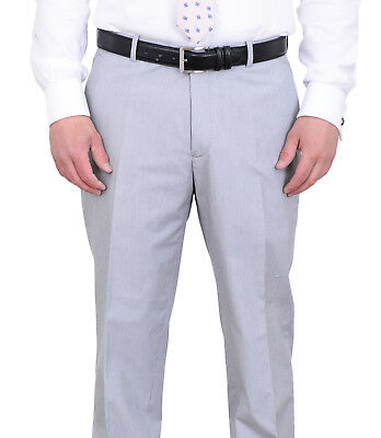 Bar III Slim Fit Light Grey Striped Flat Front Pre-Hemmed Cotton Dress Pants