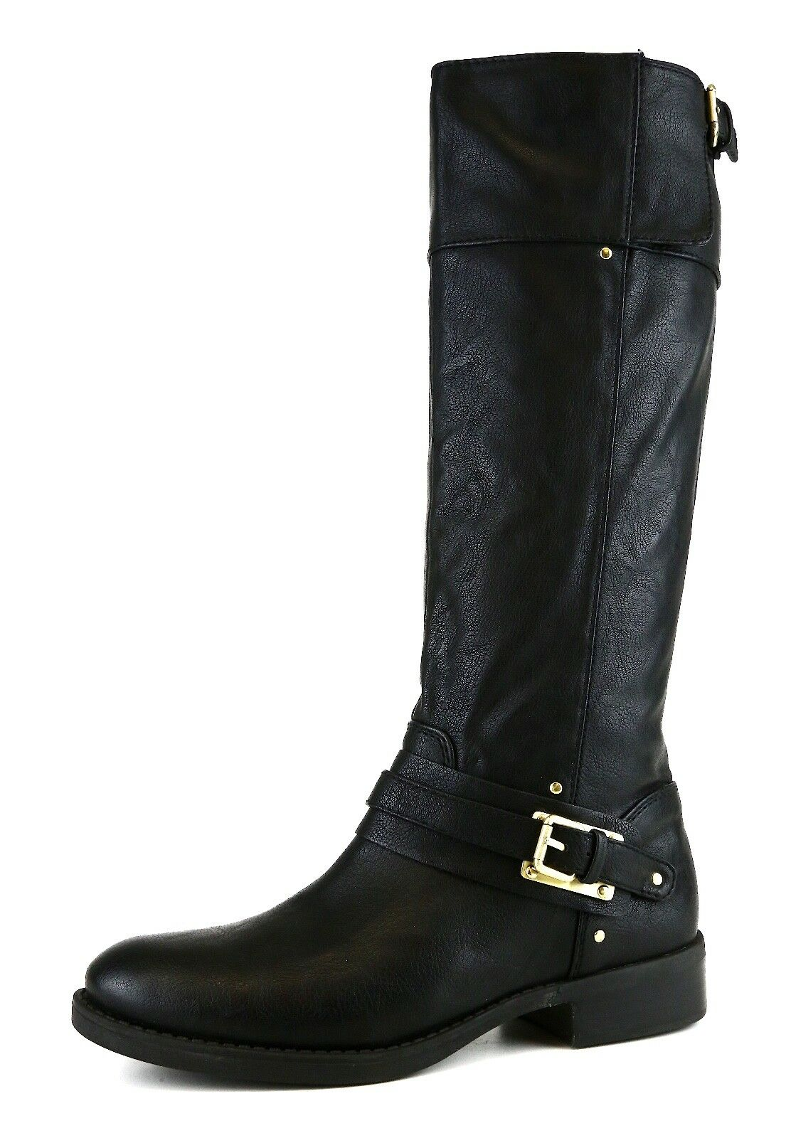 Dolce Vita Side Buckle Leather Knee High Boot Black Women Sz 7.5 5555 *
