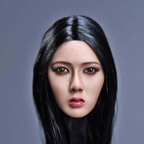 1//6 Head Female Girl Long Hair Sculpt Carved PVC Model Fit PH TBL Action Figure