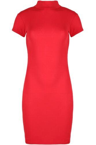 Womens Cap Short Sleeve Bodycon Ladies Turtle Polo Neck Long T Shirt Mini Dress