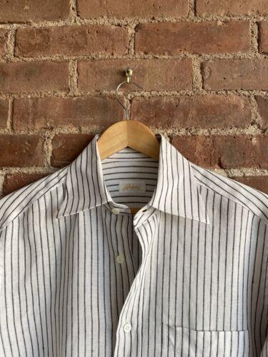 Brioni Mens Shirt, Linen Sz II Medium, Italy