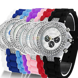 Geneva-Silicone-Crystal-Quartz-Ladies-Women-Jelly-Wrist-Watch-Versicolor