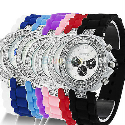 Lady Girl Women Geneva Silicone Crystal Quartz Movement Jelly Wrist Watch BJ1U