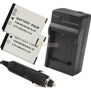 2-x-EN-EL19-ENEL19-Battery-Charger-for-Nikon-CoolPix-S3100-S4100