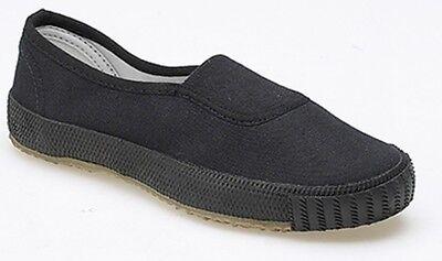Nuovo Ragazzo Ragazza Unisex Black Canvas School Shoes Pe Pompe Da Ginnastica Plims Mocassini-mostra Il Titolo Originale Disponibile In Vari Disegni E Specifiche Per La Vostra Selezione