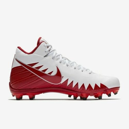 NIKE ALPHA MENACE VARSITY MID FOOTBALL CLEATS RED AND WHITE MEN/'S SIZE 10