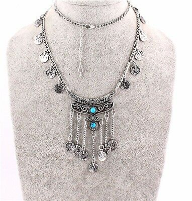 Bohemia Silver Jewels Turquoise Pendant Bib Statement Retro Necklace Coin Collar