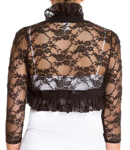 Fashion Secrets 3//4 Sleeve Lace Bolero Shrug Cropped Cardigan Trimmed Jacket