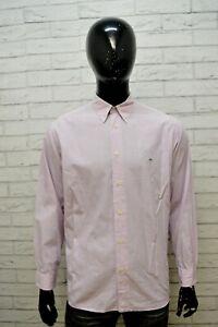 Camicia-Uomo-LACOSTE-Taglia-42-XL-Camicetta-Manica-Lunga-Shirt-Hemd-Maglia-Lilla