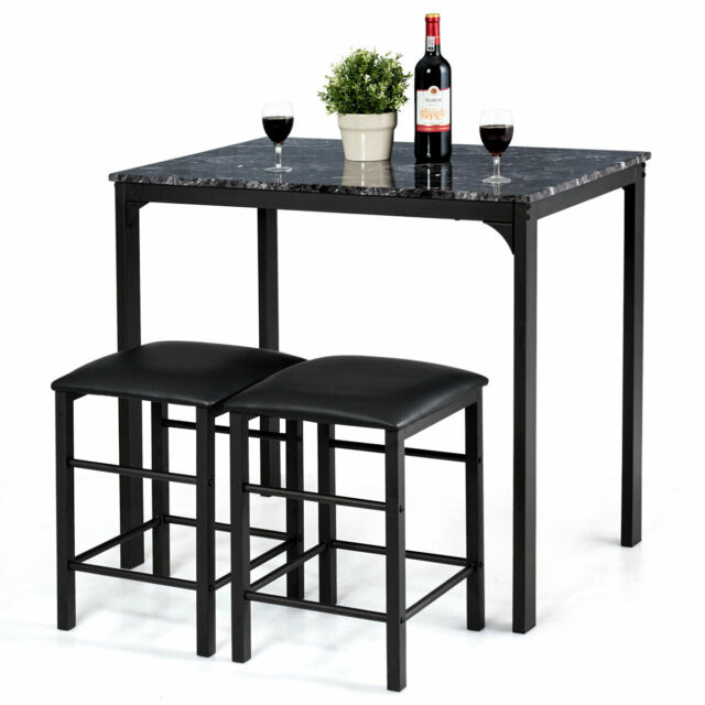 3 Pieces Counter Height Table Set 2 Chairs Bar Dining Room Faux Marble Black