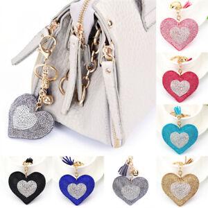 Heart-Crystal-Rhinestone-Handbag-Charm-Pendant-Bag-Keyring-Key-Chain-Ring-fQ-xh