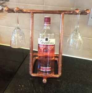 Industrial Appeal Copper Pipe Bottle And Glasses Holder Wine Gin