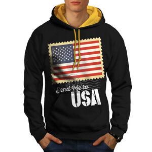 wellcoda USA Patriotic Mens Sweatshirt Stand for Flag Casual Jumper
