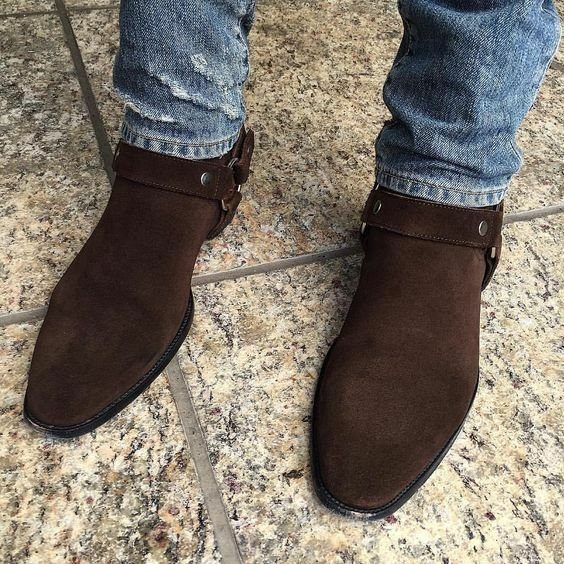 Handmade Men brown suede bike boot, Men Men Men ankle boot, Men side zipper boot 61838d