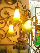 Auguste Moreau-style-Unsigned Antique Bronze 3Bulb Table Lamp{Stamped France}