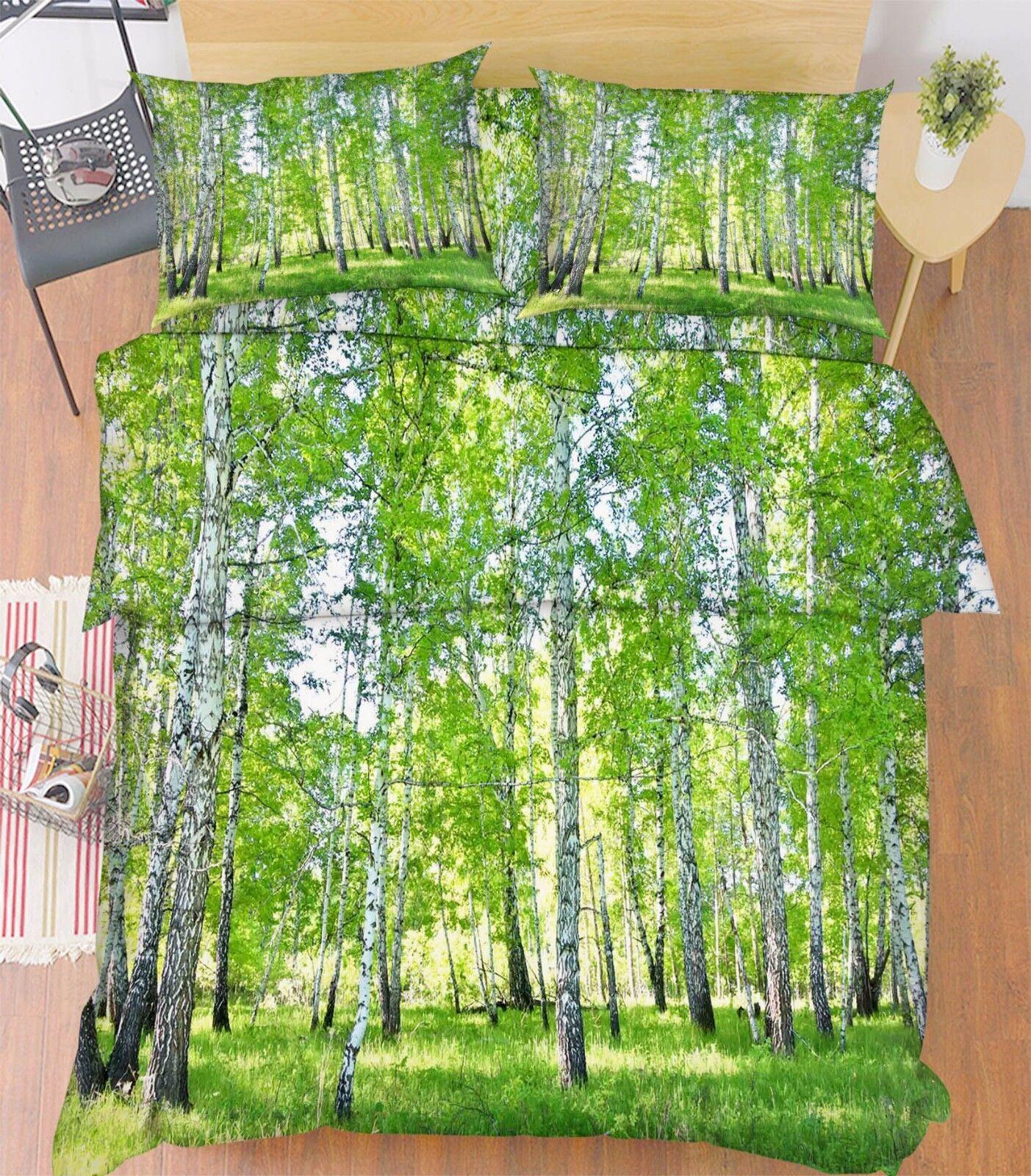 3D Grün Trees 876 Bed Pillowcases Quilt Duvet Cover Set Single Queen UK Kyra