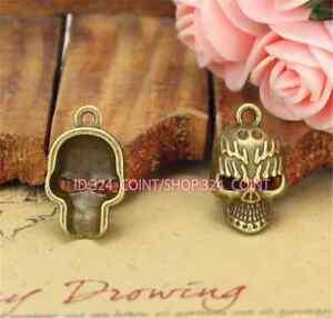 P889-8pc-Antique-Bronze-skull-DIY-Pendant-Bead-Charms-Jewellery-Making
