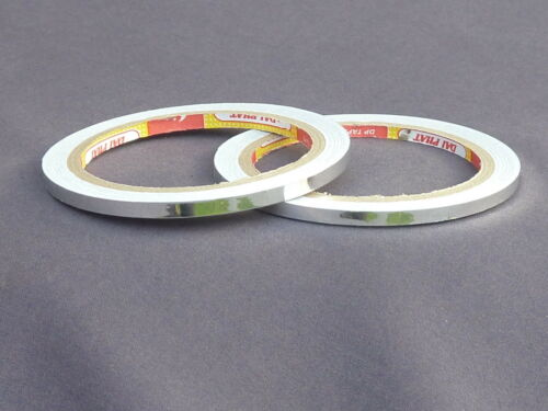 2 ROLLS SILVER PERMANENT METALLIC TAPE 5MM X 20 METRES