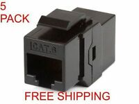 5 Pack Cat6 Inline Coupler Snap In Keystone Jack Type - Black