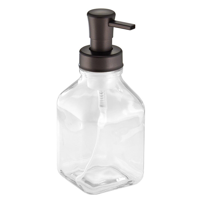 InterDesign Cora Glass Foaming Soap Dispenser Pump for Kitch