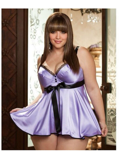 Xmas Gift ** Sexy LINGERIE Womens Lace Satin Sleepwear Chemise Babydoll Dress