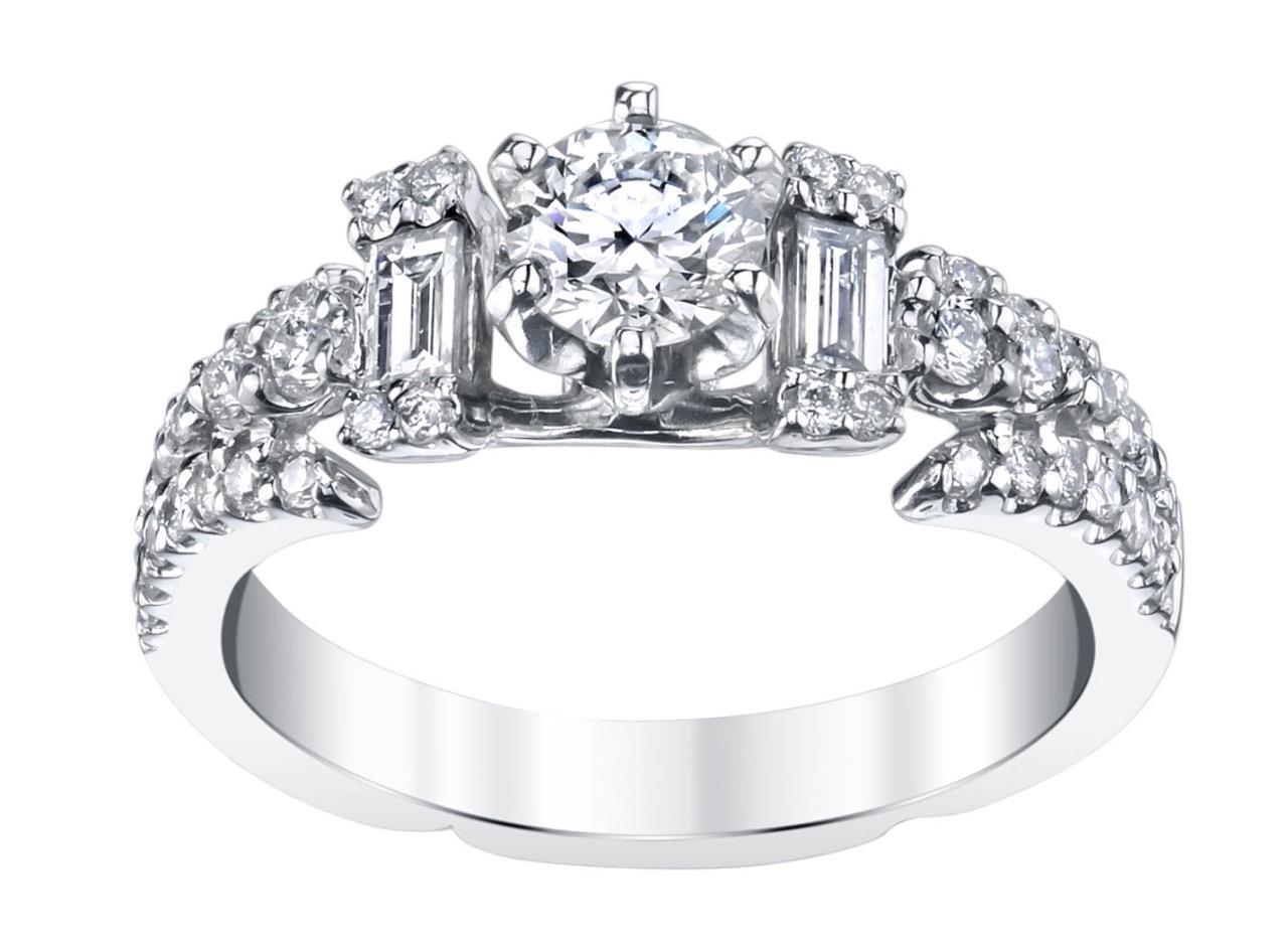 Diamond Engagement Ring 1.08ct White 18k gold 0.44ct Center