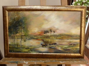 OIL  CATTLE BY THE RIVER  EXHIBITED ARTIST GAYE PASS   FREE SHIPPING TO ENGLAND - Uckfield, United Kingdom - Returns accepted Most purchases from business sellers are protected by the Consumer Contract Regulations 2013 which give you the right to cancel the purchase within 14 days after the day you receive the item. Find out more about - Uckfield, United Kingdom