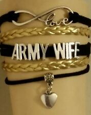 CUSTOM MILITARY LEATHER CHARM BRACELET ADJUSTABLE - ARMY WIFE - GOLD/BLACK- #247