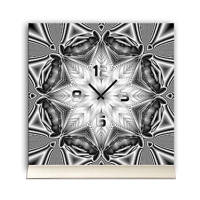 Herzhaft Tischuhr 30cmx30cm Inkl. Alu-ständer -abstraktes Design Kaleidoskop Stern Grau QualitäT Und QuantitäT Gesichert
