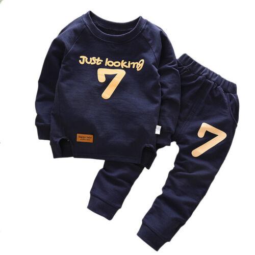 2PCS Kids Toddler Boy Girl Tracksuit Hoodie Sweatshirt Long Pants Clothes Set UK