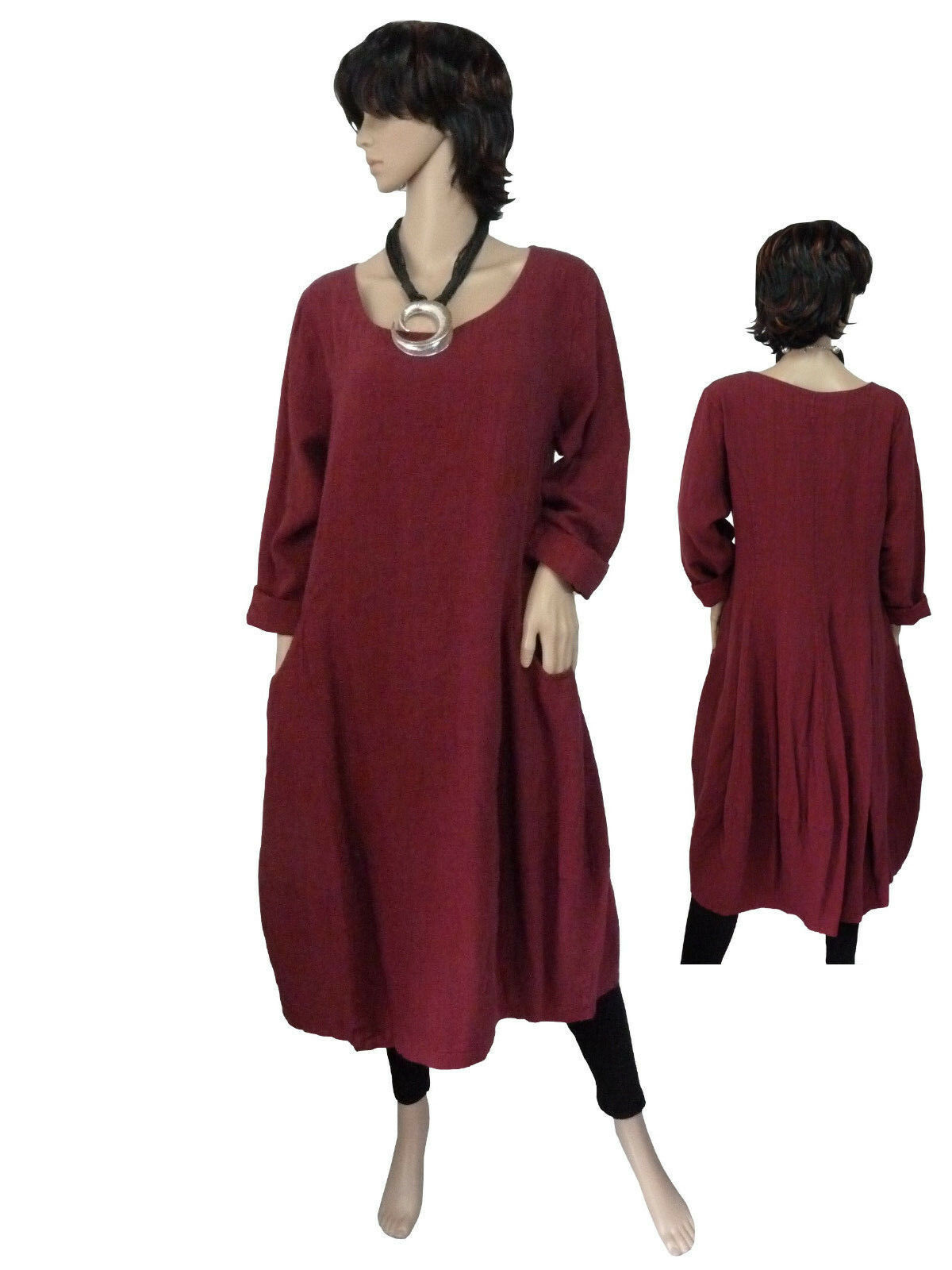 Größe 40 - 50 Robe Lin Robe Manches Longues Robe Ballon Robe Bordeaux Italie Superposé