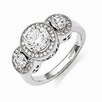 Sterling Silver Past Present Future 3 Stone Round Halo Cz Ring Size 7