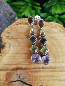 Artisan-Multi-Gemstone-Multi-Shape-Dangle-Earrings-Sterling-Silver