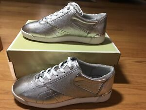 Michael-Kors-Addie-Womens-Size-9-Lace-Up-Metallic-Leather-Sneakers