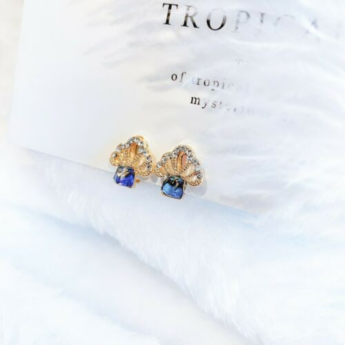 Solid 18K Gold Plated Clear Crystal Blue Rainbow CZ Cube Drop Clip On Earrings
