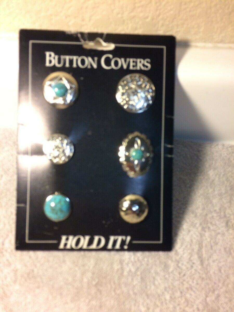(6) BUTTON COVERS--WESTERN--SILVER / TURQUOISE--HOLD IT---FREE SHIP-NEW