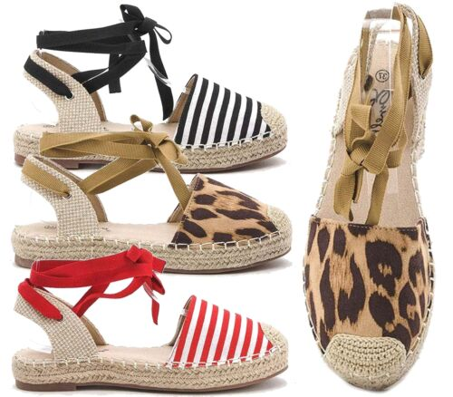 WOMENS SLINGBACK ANKLE RIBBON TIE UP SHOES ESPADRILLES CASUAL HOLIDAY SANDALS
