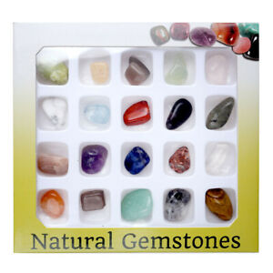 20pc Natural Rough Rare Tumble Stone Display Crystal Gem Polished Collection Set