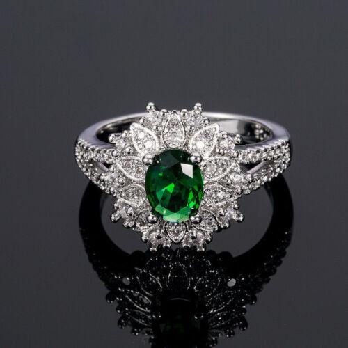 Señora-anillos encantadora Sterling plata 925 con verdes Emerald Tops