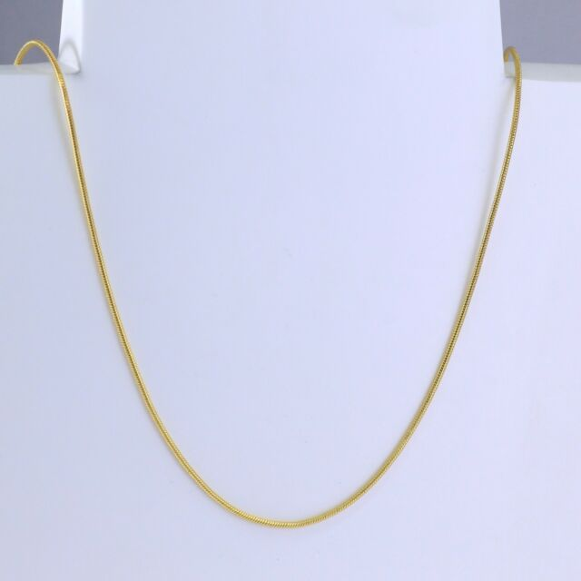 1mm High quality 18K Gold Stainless Steel Thin Snake Chain Necklace 24 inches