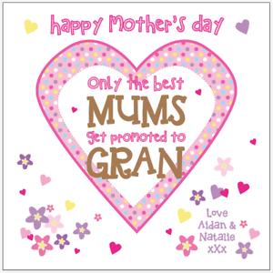Personalised Mother/'s Day Card Mothers Day Mum Mummy Nan Nanny Gran Nana Granny
