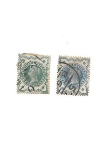 1900-QUEEN-VICTORIA-NEW-COLOURS-1-2d-BLUISH-GREEN-X-2-1-RED-GREEN-STAMPS