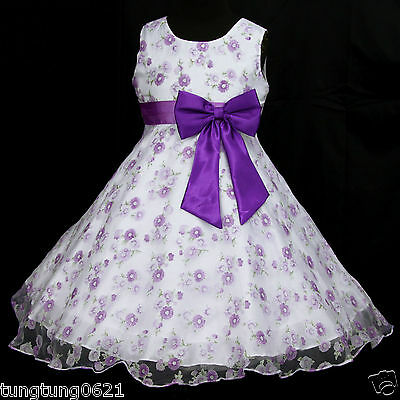 UsaG #r Deep Purple X'mas White puw975 Birthday Party Flower Girl Dress 2-12y