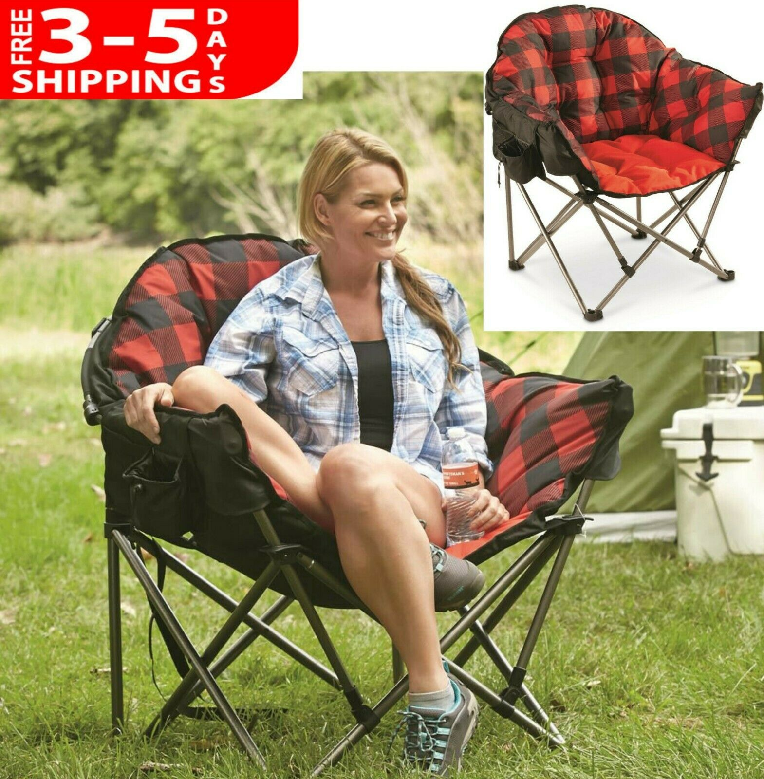 Large Folding Oversized Travel Foldable Camp Camping Chair Seat w Carry Bag