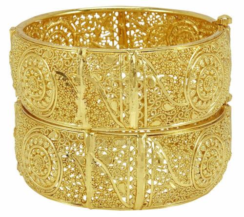 Indian Bollywood Gold plated Ethnic 2Pcs Kada Bangles Set Women Jewelry BSV08-07